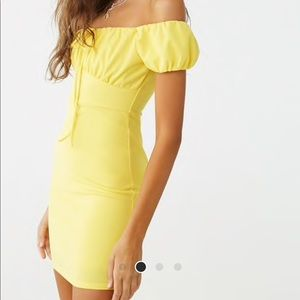 Yellow Off The Shoulder Mini Dress